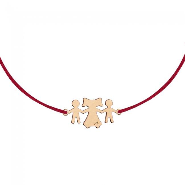 Bratara pe snur Fiu-Mama-Fiu, din aur roz