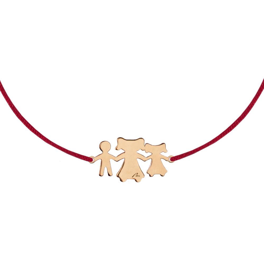 Bratara pe snur Fiica-Mama-Fiu din aur roz