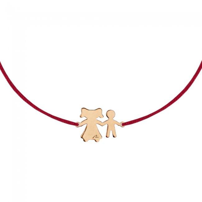 Bratara pe snur Mama-Fiu, din aur roz