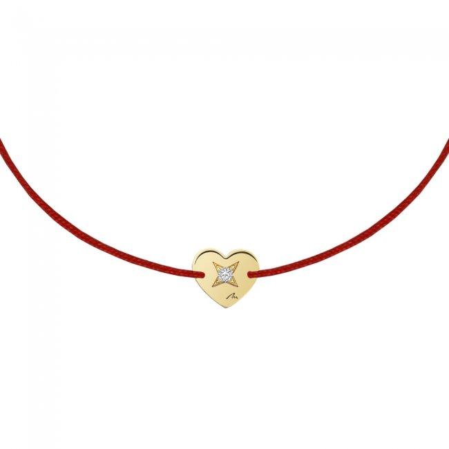 Bratara pe snur Inima S, din aur galben, cu diamant alb