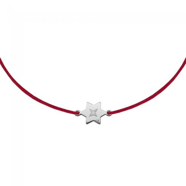 Bratara pe snur Stea S, din aur alb, cu diamant alb