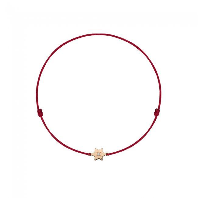 Bratara pe snur Stea S, din aur roz, cu diamant alb