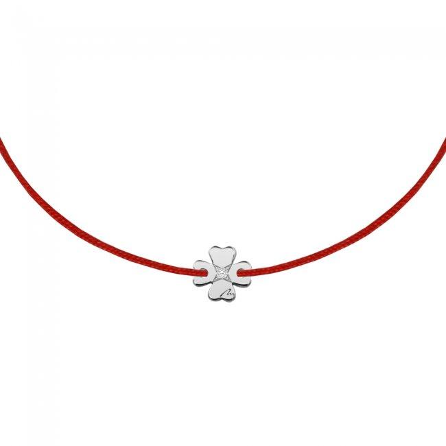 Bratara pe snur Trifoi S, din aur alb, cu diamant alb