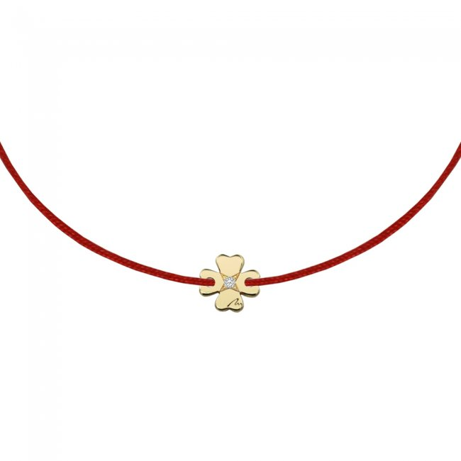 Bratara pe snur Trifoi S, din aur galben, cu diamant alb