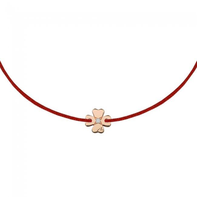 Bratara pe snur Trifoi S, din aur roz, cu diamant alb