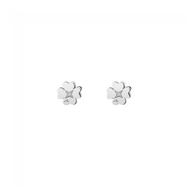 Cercei  Trifoi clasici, cu diamante albe, din aur alb, cu tija