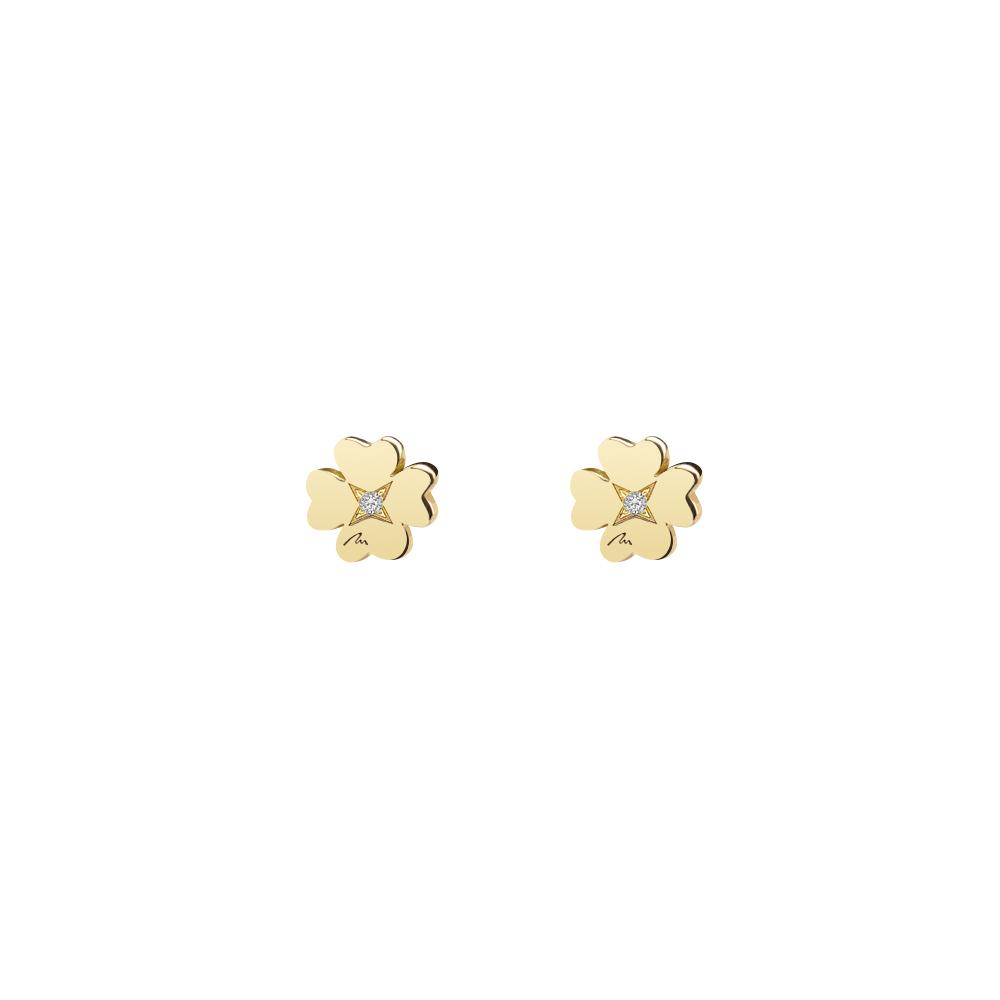 Cercei Trifoi clasici, cu diamante albe, din aur galben, cu tija