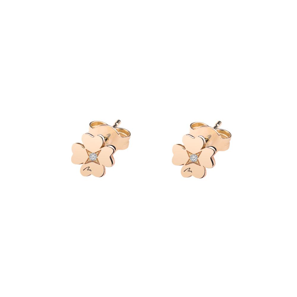 Cercei Trifoi clasici, din aur roz, cu diamante albe, cu tija