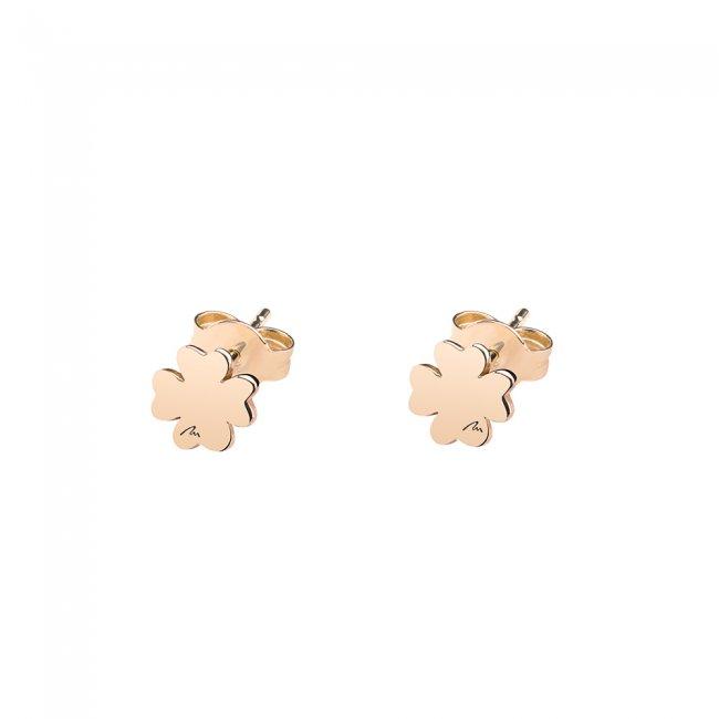 Cercei Trifoi clasici, din aur roz, cu tija