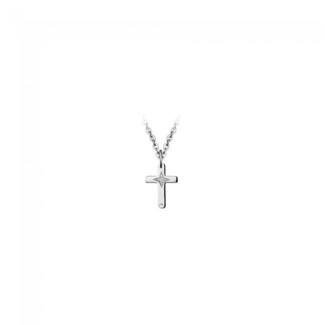 Pandantiv cruce, din aur alb, cu diamant alb