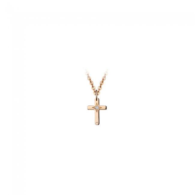 Pandantiv cruce, din aur roz, cu diamant alb