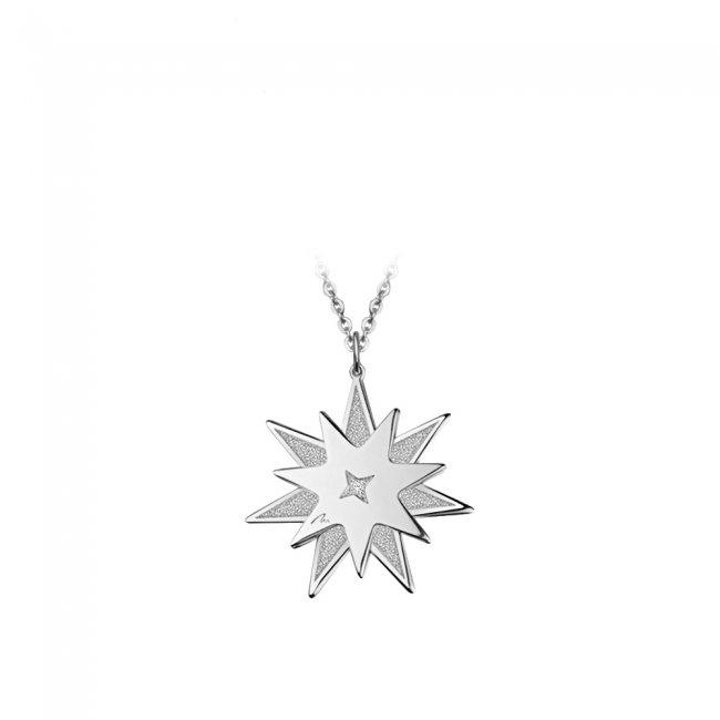 Pandantiv Luceafar, din aur alb, cu diamant alb si negru