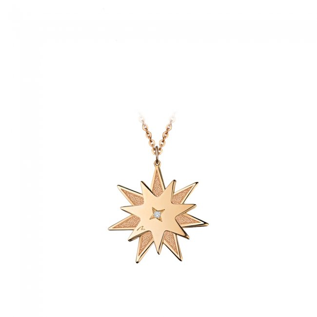 Pandantiv Luceafar, din aur roz, cu diamant alb si negru