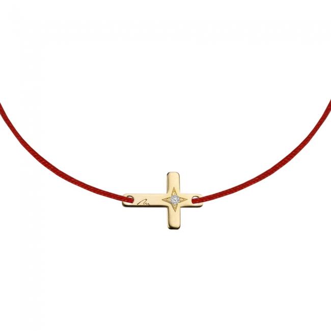 Bratara pe snur Cruce, din aur galben, cu 1 diamant alb