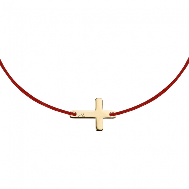 Bratara pe snur Cruce, din aur galben