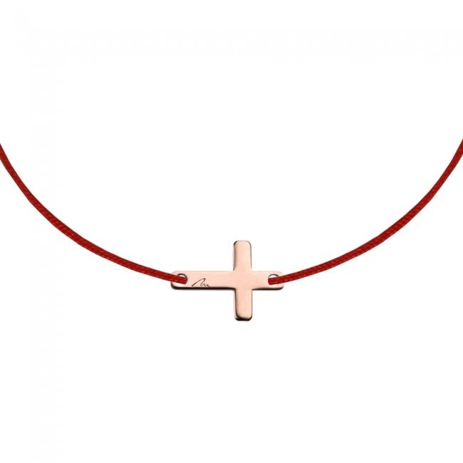 Bratara pe snur Cruce, din aur roz