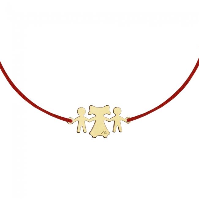 Bratara pe snur Fiu-Mama-Fiu, din aur galben