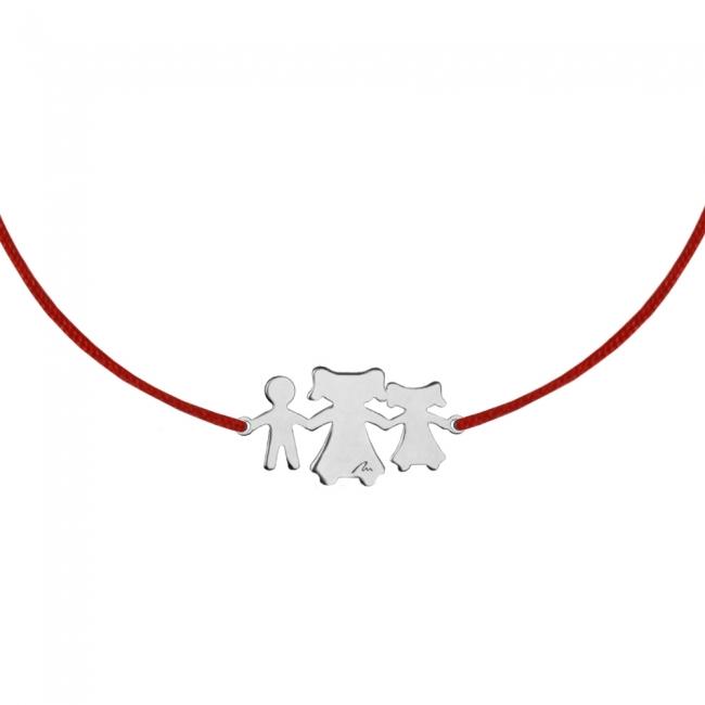 Bratara pe snur Fiu-Mama-Fiica, din aur alb