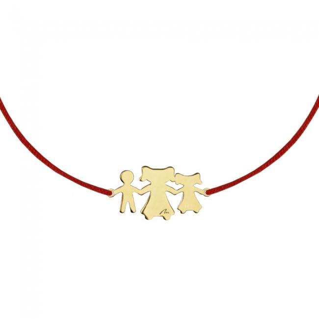 Bratara pe snur Fiica-Mama-Fiu, din aur galben