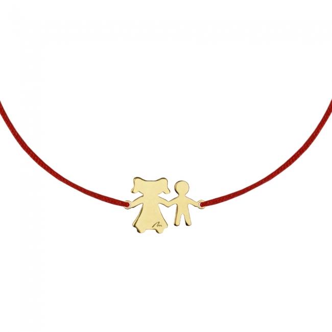 Bratara pe snur Mama-Fiu, din aur galben