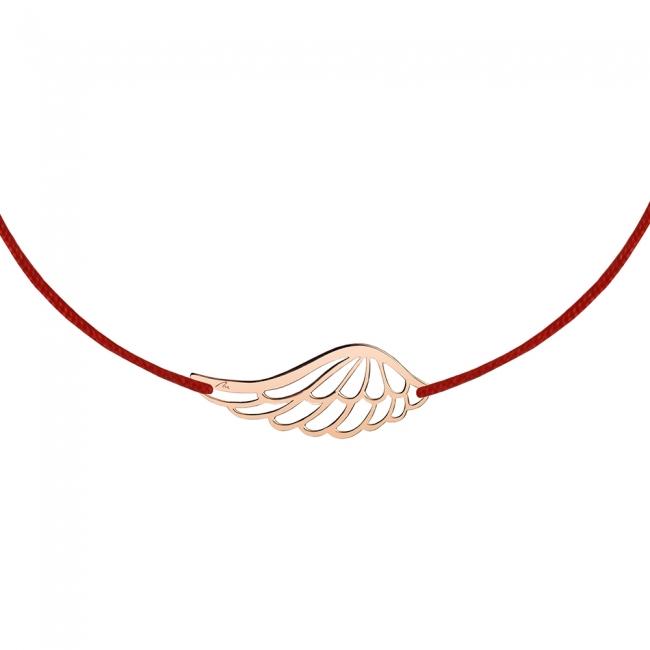 Bratara pe snur Aripi de Inger, din aur roz
