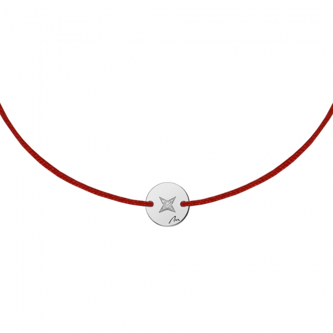 Bratara pe snur rosu Banut 7 mm, din aur alb, cu diamant alb