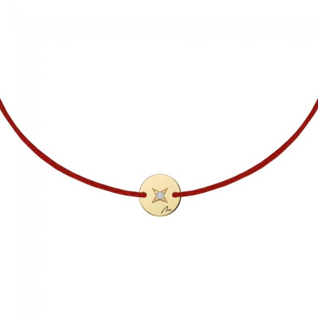 Bratara pe snur Banut 7 mm, din aur galben, cu diamant alb