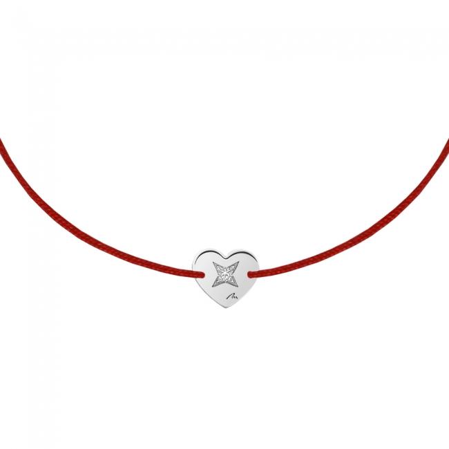 Bratara pe snur Inima S, din aur alb, cu diamant alb