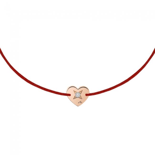 Bratara pe snur Inima S, din aur roz, cu diamant alb