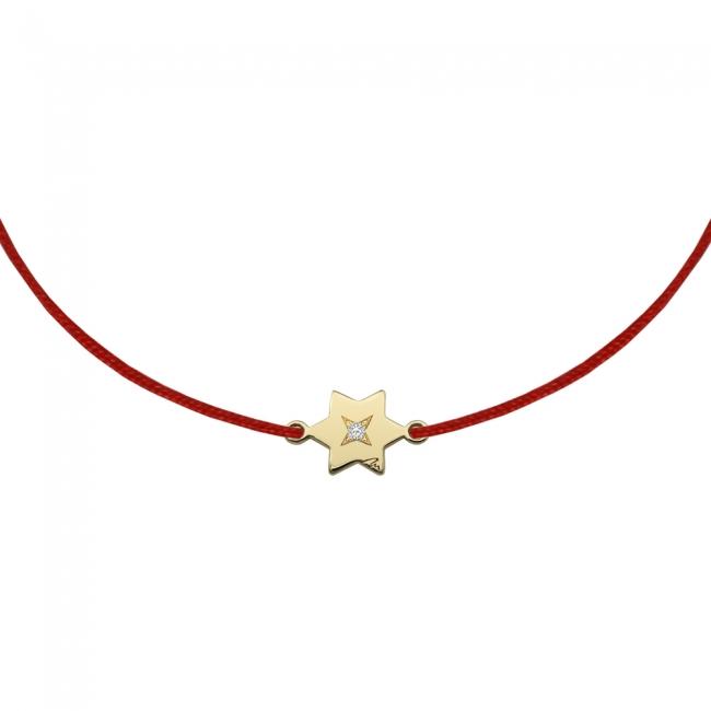 Bratara pe snur Stea S, din aur galben, cu diamant alb