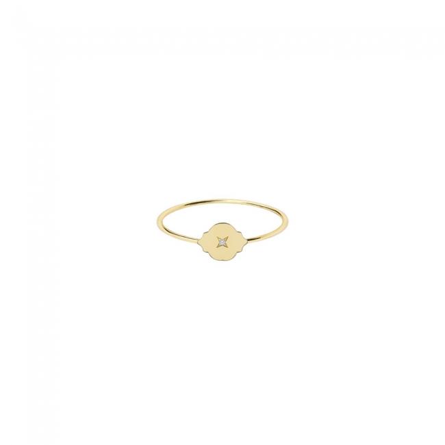 Inel Asha, din aur galben, cu 1 diamant alb
