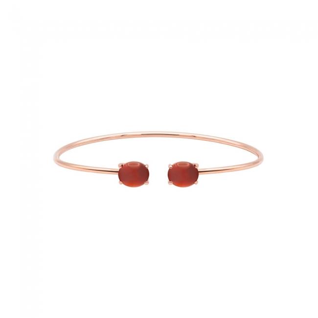Bratara fixa din aur roz, cu pietre Corniola rosii