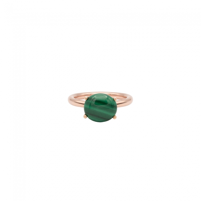 Inel din aur roz cu piatra Malachit