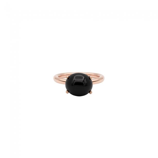 Inel din aur roz cu piatra Onix