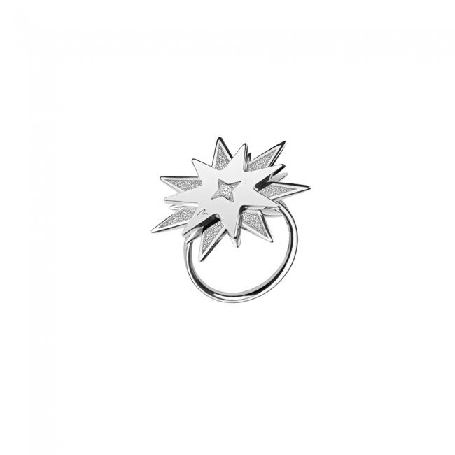 Inel Luceafar, din aur alb, cu diamante albe si negre