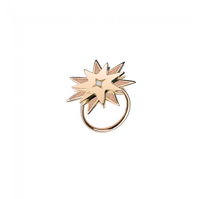 Inel Luceafar, din aur roz, cu diamante albe si negre