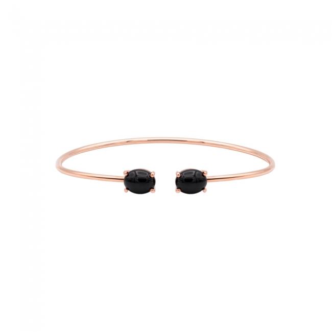 Bratara fixa din aur roz cu pietre Onix negre