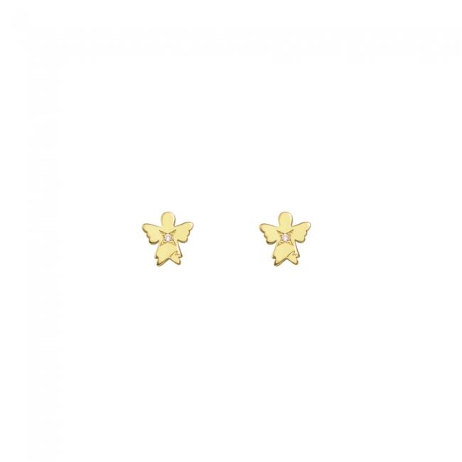 Cercei Inger clasic, cu diamante albe, din aur galben, cu tija