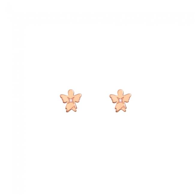 Cercei Inger clasic cu diamante albe, din aur roz, cu tija