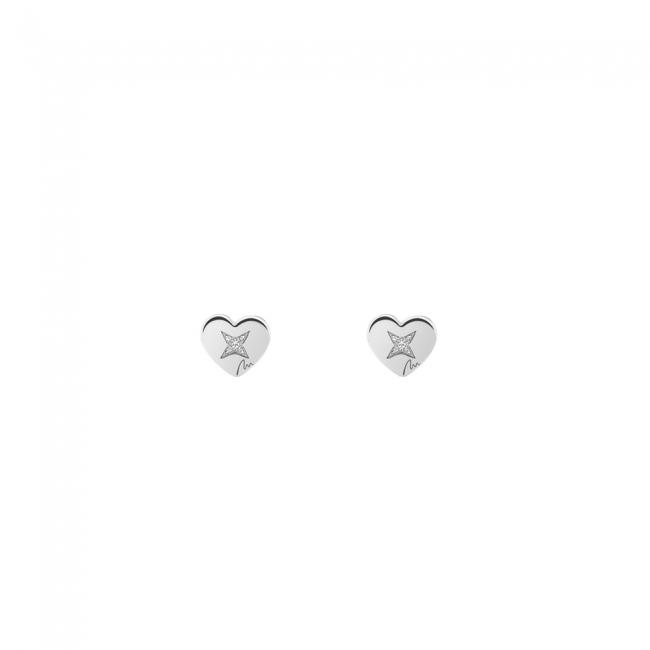 Cercei Inima clasica, cu diamante albe, din aur alb, cu tija
