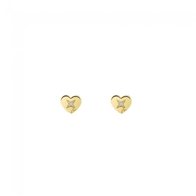 Cercei Inima clasica, cu diamante albe, din aur galben