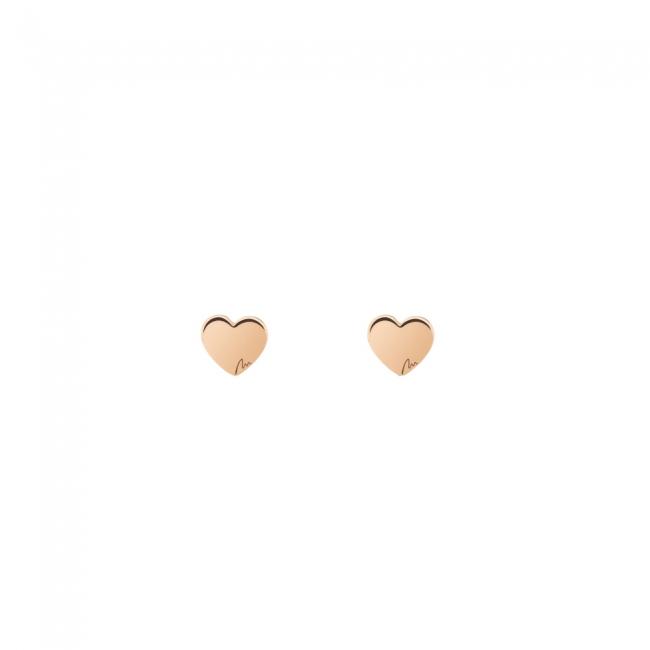 Cercei Inima clasica, din aur roz, cu tija