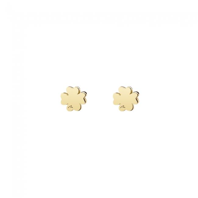 Cercei Trifoi clasici, din aur galben, cu tija