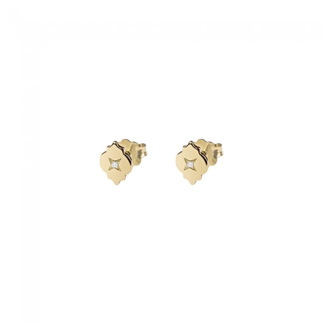 Cercei Asha cu diamante albe, din aur galben