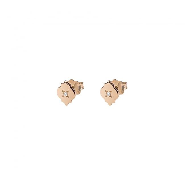 Cercei Asha cu diamante albe, din aur roz