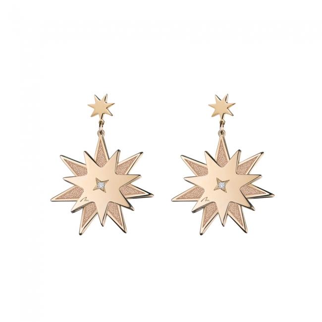 Cercei Luceafar din aur roz cu diamant alb si negru