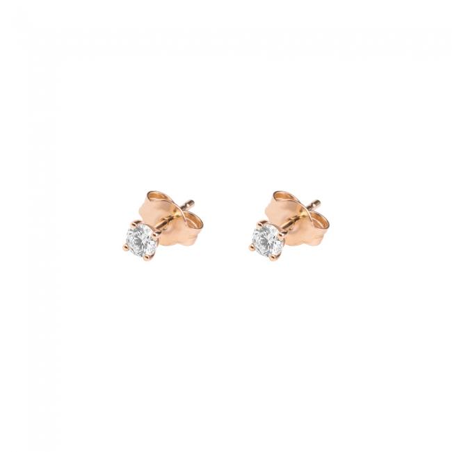 Cercei Studs cu diamante albe, din aur roz