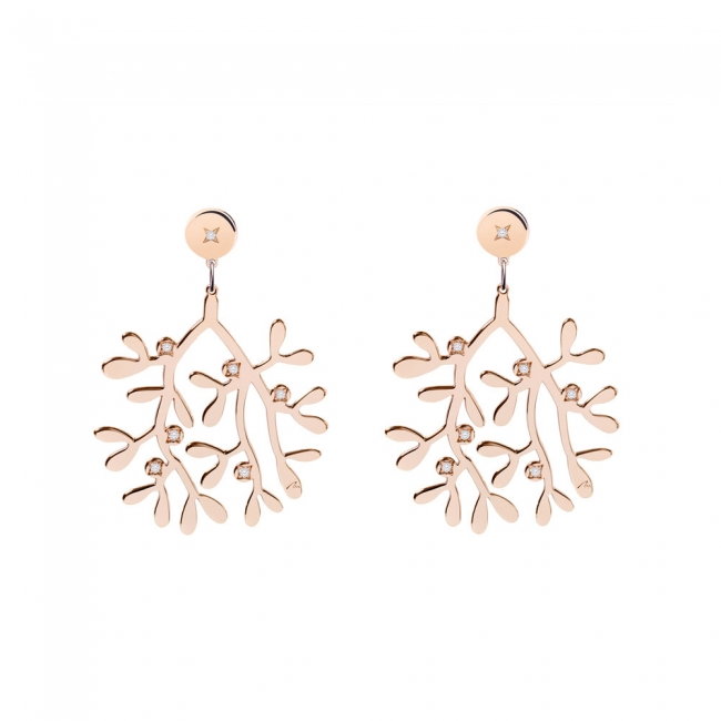 Cercei Vasc, cu diamante albe, din aur roz