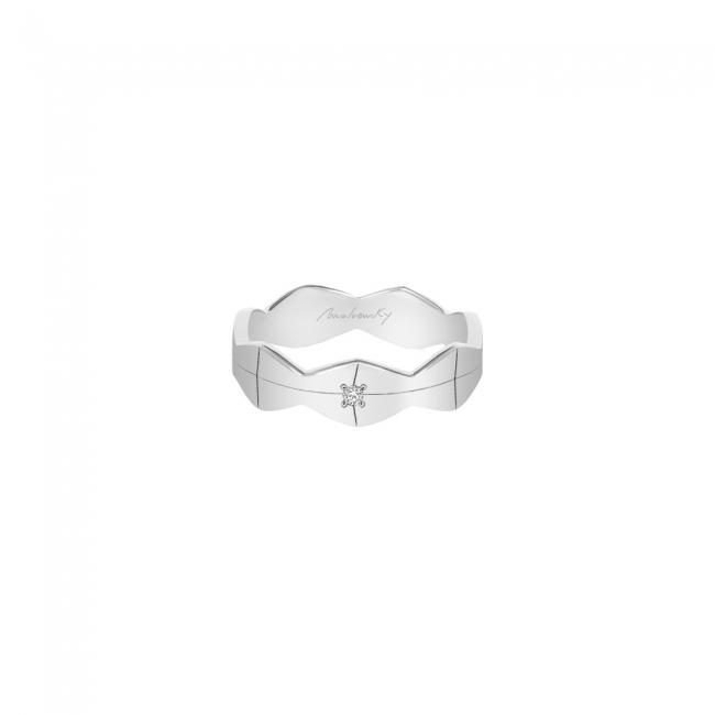 Verigheta Infinity, lata, cu 1 diamant alb, din aur alb