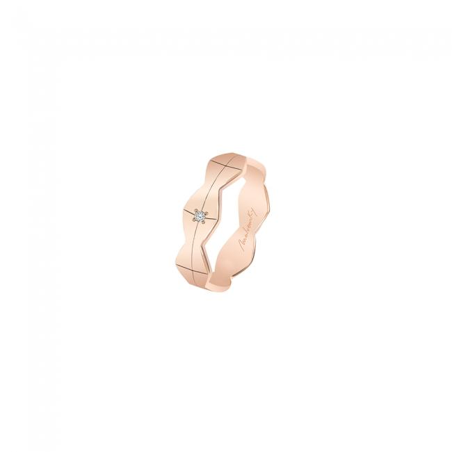 Verigheta Infinity, lata, cu 1 diamant alb, din aur roz